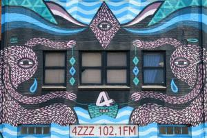 Mural at 4ZZZ radio the valley brisbane